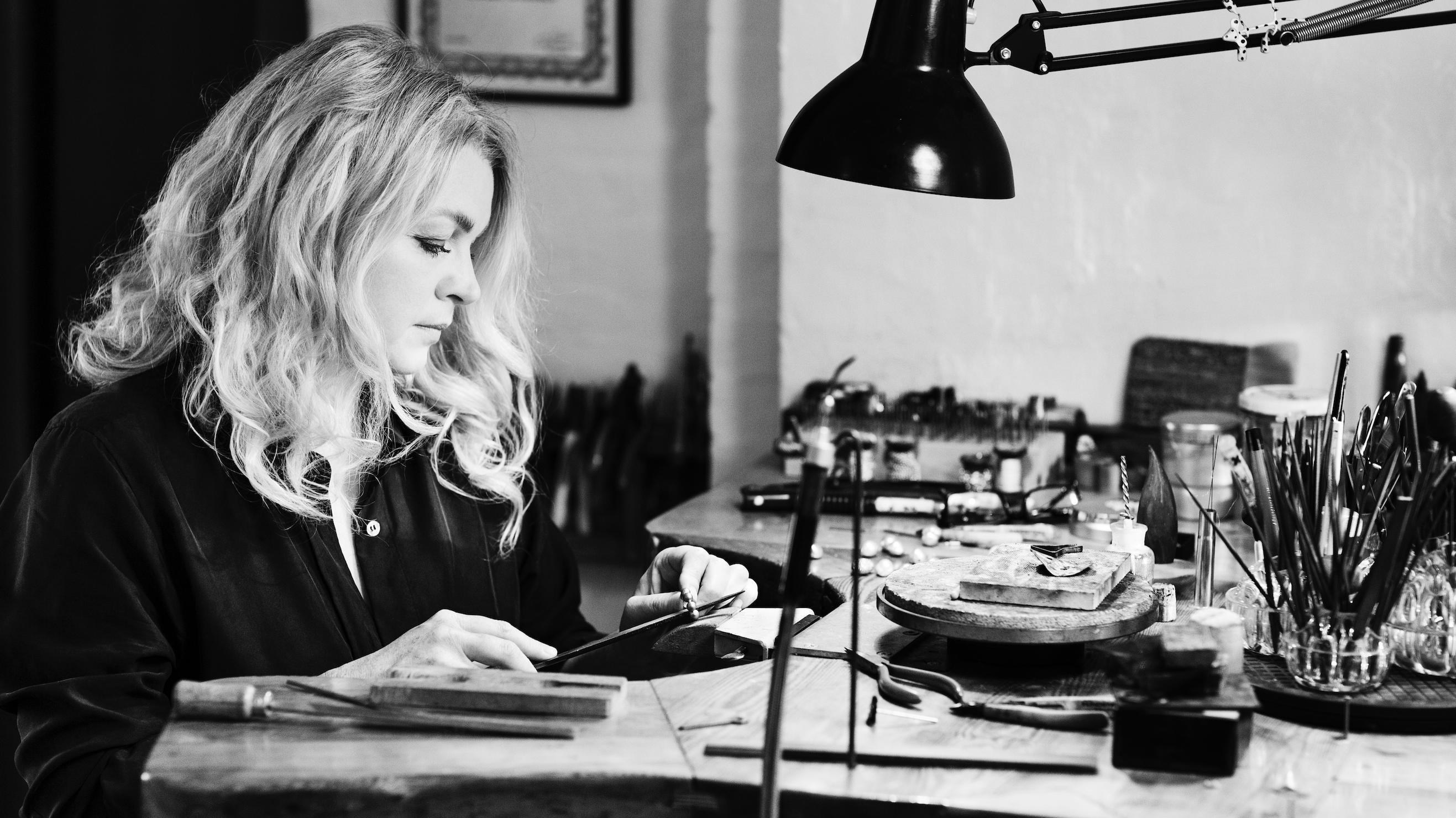 Bodil Binner working in the studio in Copenhagen
