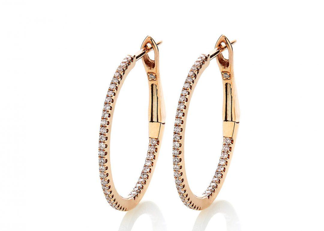 Diamond Hoops Earrings